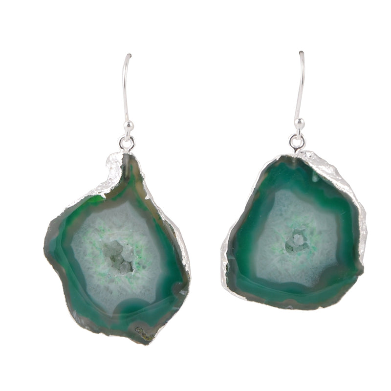 Freeform Drusy Agate Earring-Green