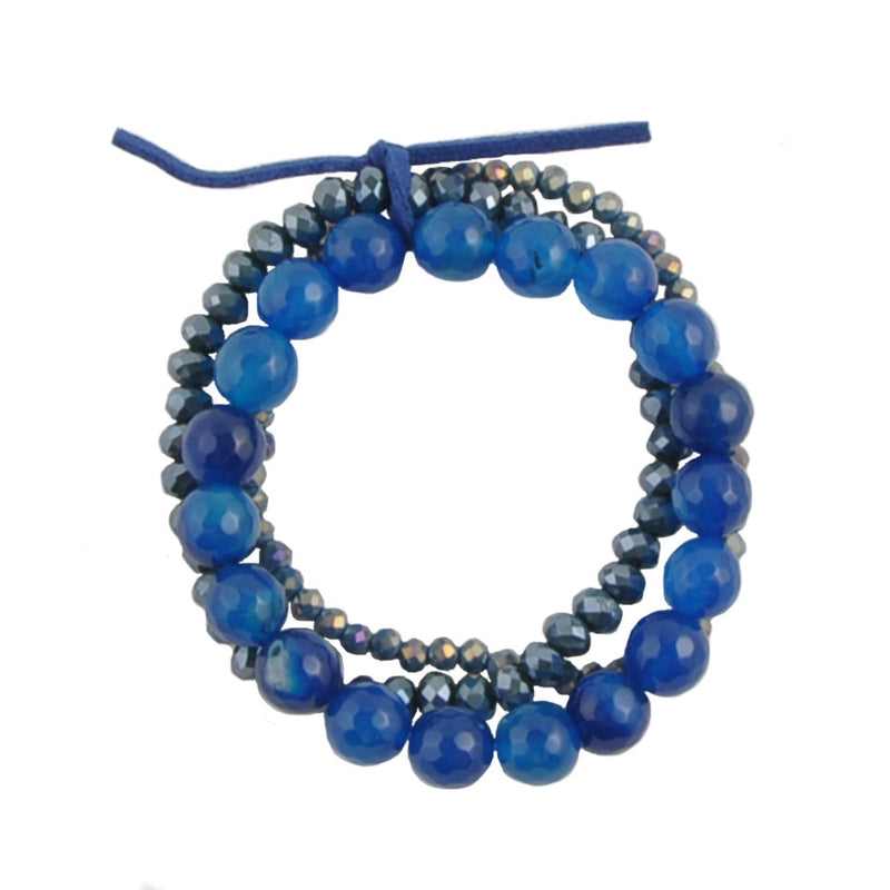 Triple Stretch Bracelet-Crystal and Agate
