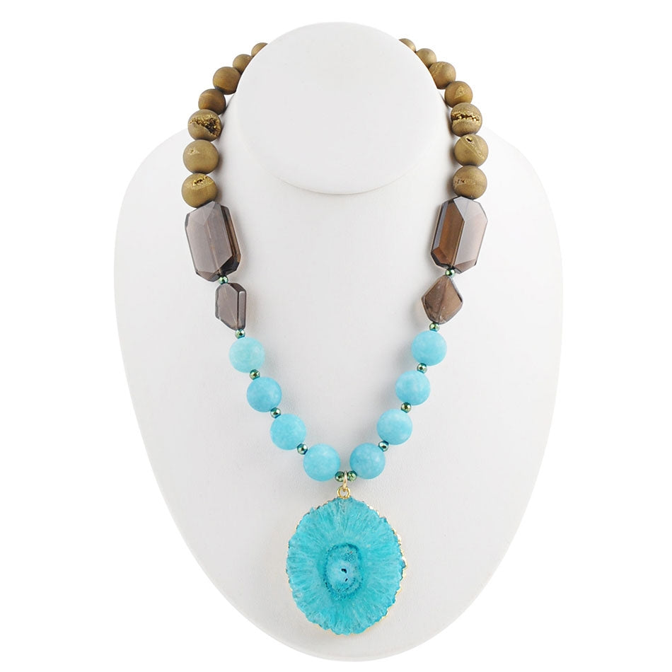 Gold and Teal Earth Necklace