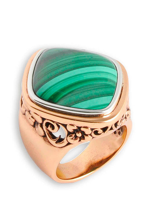 Copper and Malachite Ring