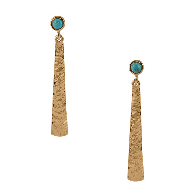 It's a Fine Line Earring-Bronze and Turquoise
