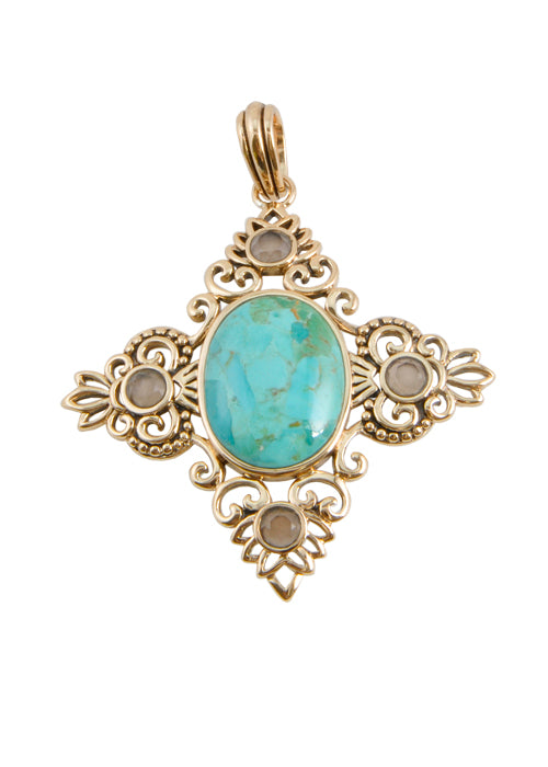 Turquoise and Smoky Quartz Pendant
