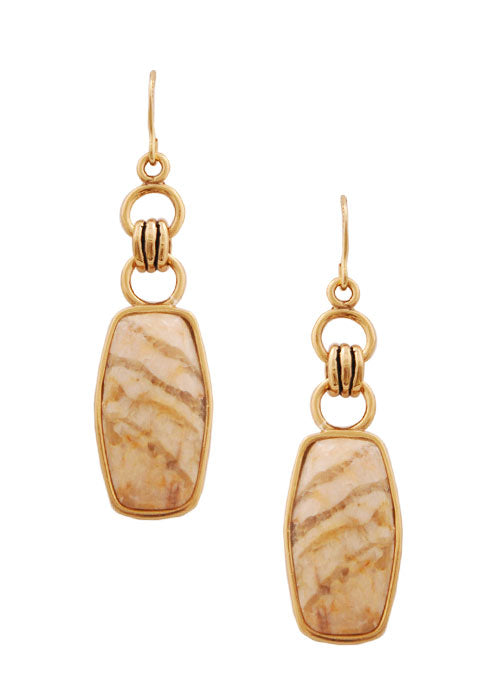 Feldspar Jasper and Bronze Earring