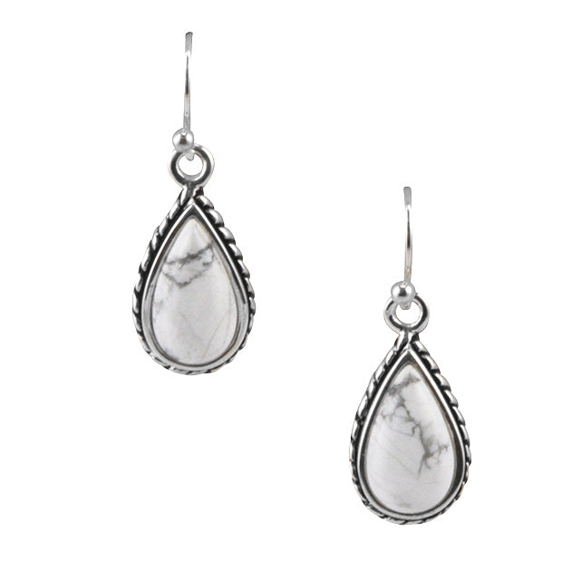 White Howlite Roped Teardrop Earring