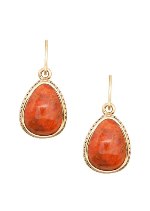 Teardrop Orange Sponge Coral Drop Earring