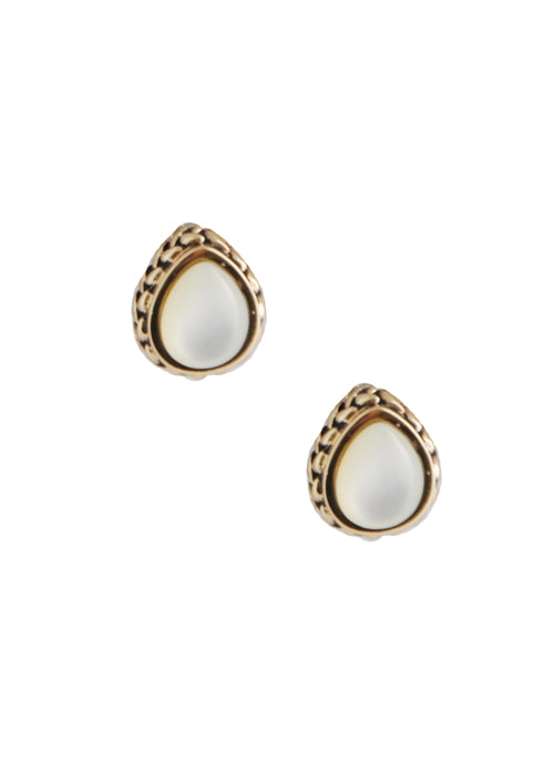 Mother of Pearl Teardrop Post Earring-Bronze