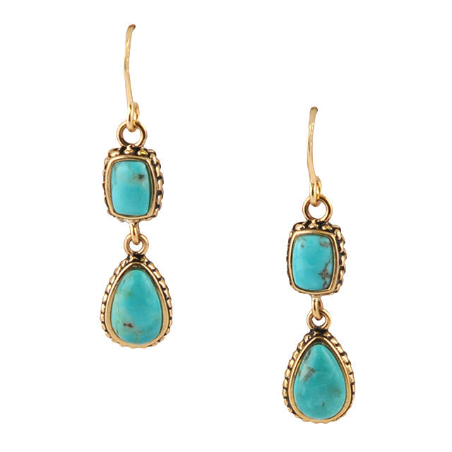 Hinged Turquoise Earring on Wire