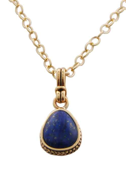 Roped Teardrop Lapis Necklace