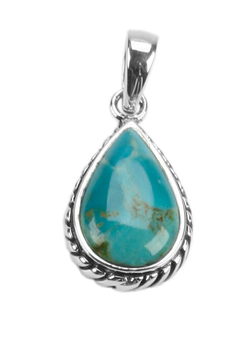 Roped Teardrop Turquoise Pendant