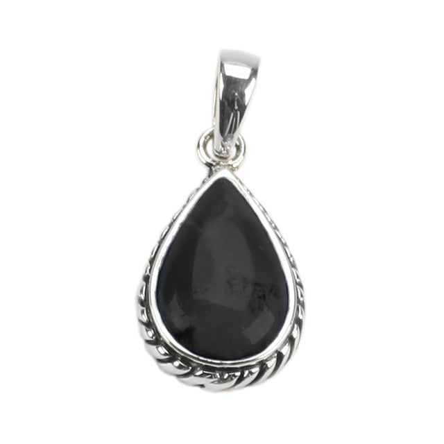 Roped Teardrop Black Onyx Pendant
