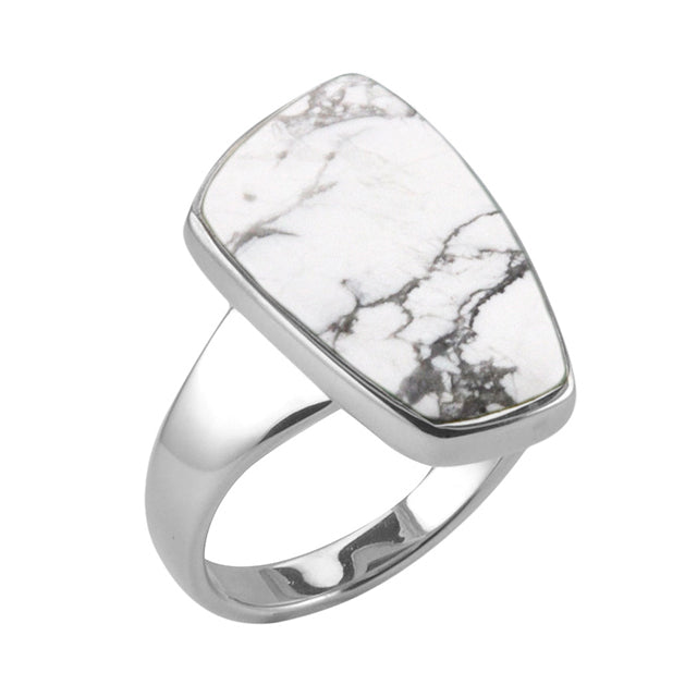 Abstract White Howlite Ring
