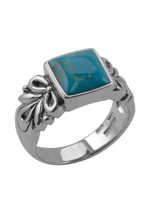 Square Scroll Turquoise Ring