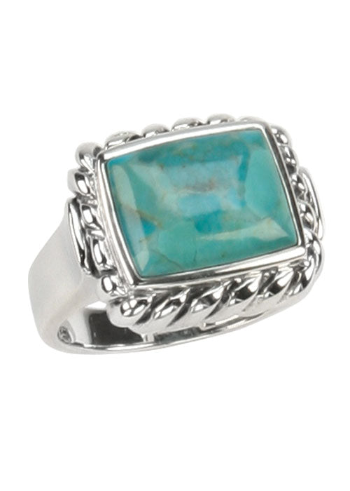 Rectangle Turquoise Roped Ring