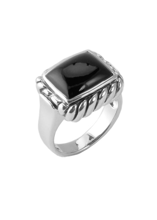 Onyx Roped Sterling Ring