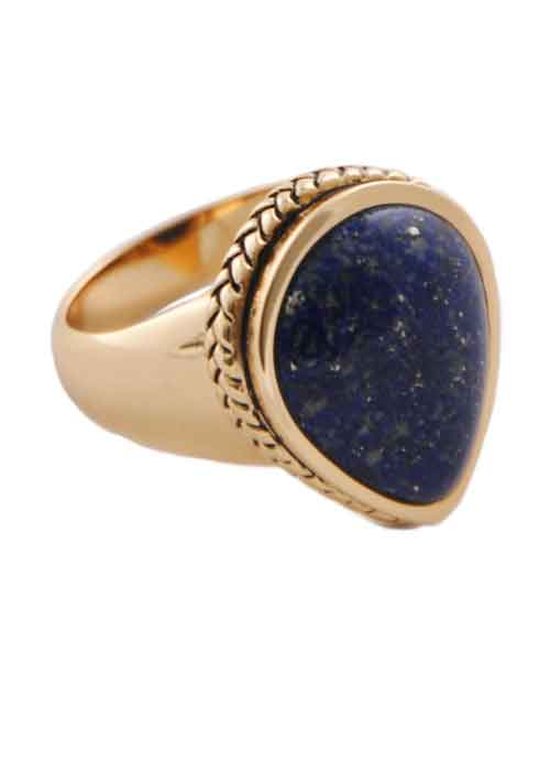 Teardrop Lapis Rope Ring