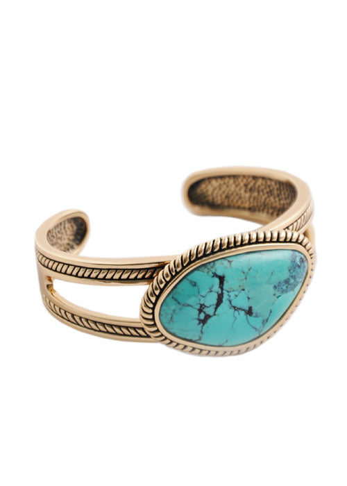 Turquoise Bronze Abstract Cut Cuff
