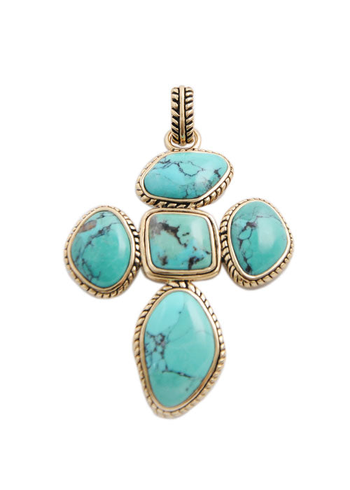 Abstract Turquoise Cross Pendant
