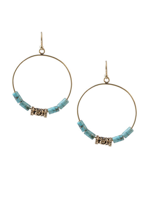Turquoise Howlite Circle Earring