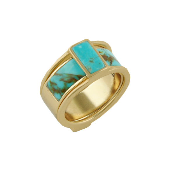 BFF Multiple Rings-Bronze and Turquoise