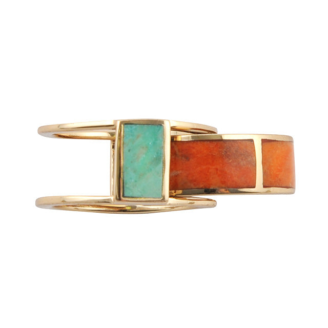 BFF Multiple Rings- Turquoise and Orange Sponge Coral