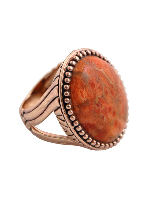 Copper and Coral Signet Ring