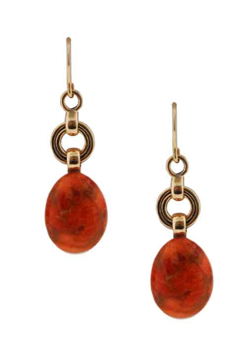 Simple Oval Orange Sponge Coral Earring-Bronze