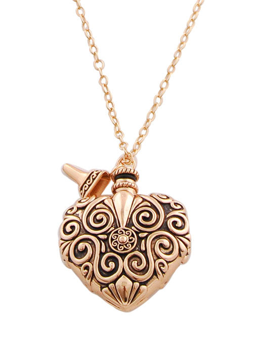 Bronze Heart Perfume Flask and Pendant