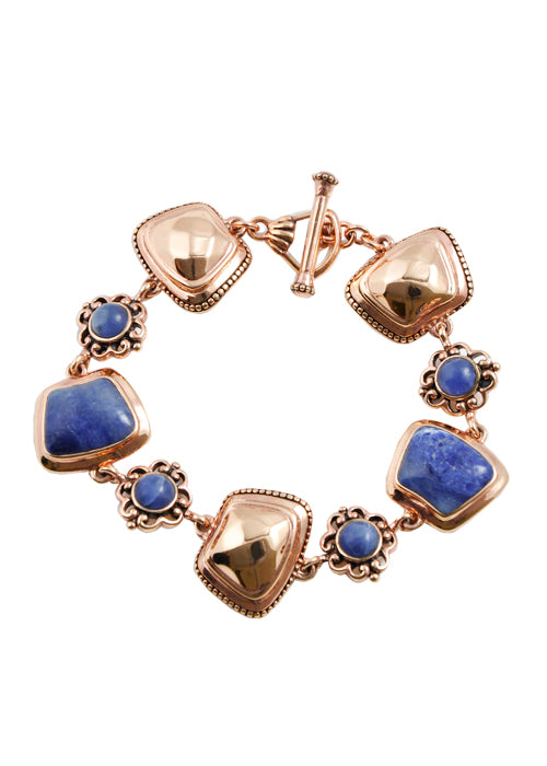 Faceted Copper and Sodalite Toggle Bracelet