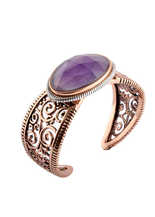 Copper and Amethyst Swirl Cuff Bracelet