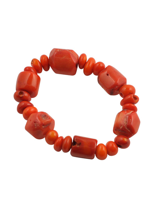 Orange Bamboo Coral Beaded Bracelet