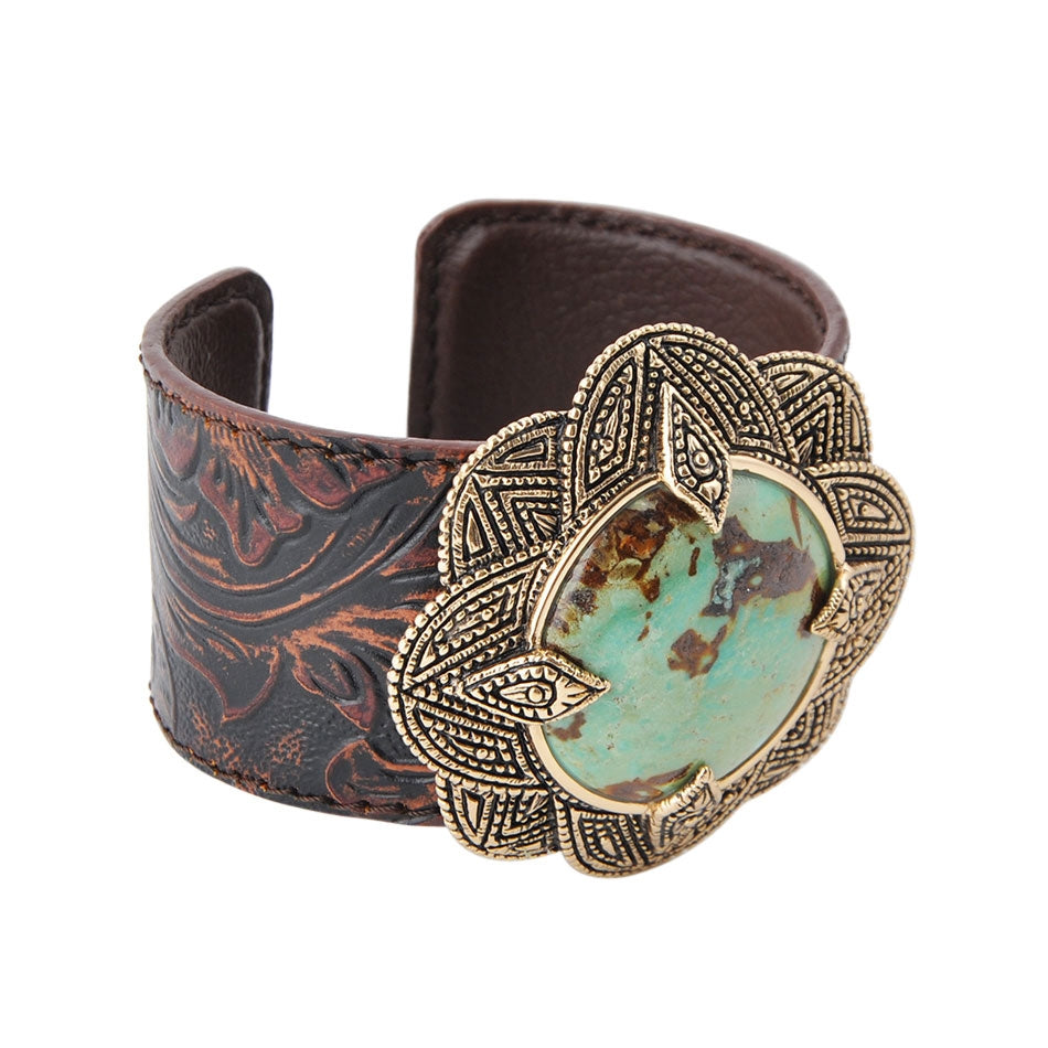 Got It Turquoise and Leather Cuff Bracelet