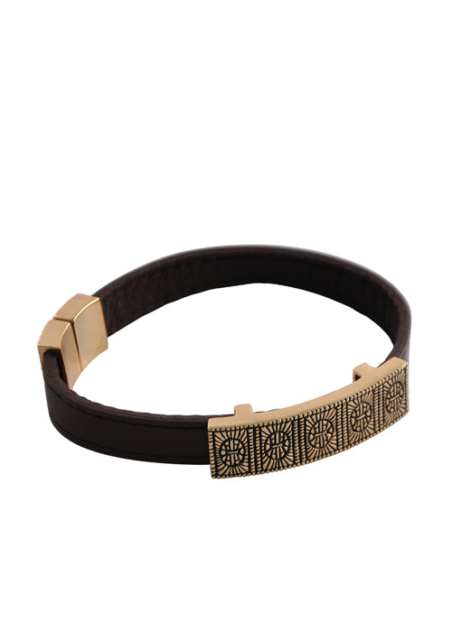 Brown Leather and Bronze Magnetic Bracelet