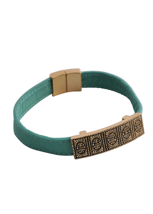 Turquoise Leather and Bronze Magnetic Bracelet
