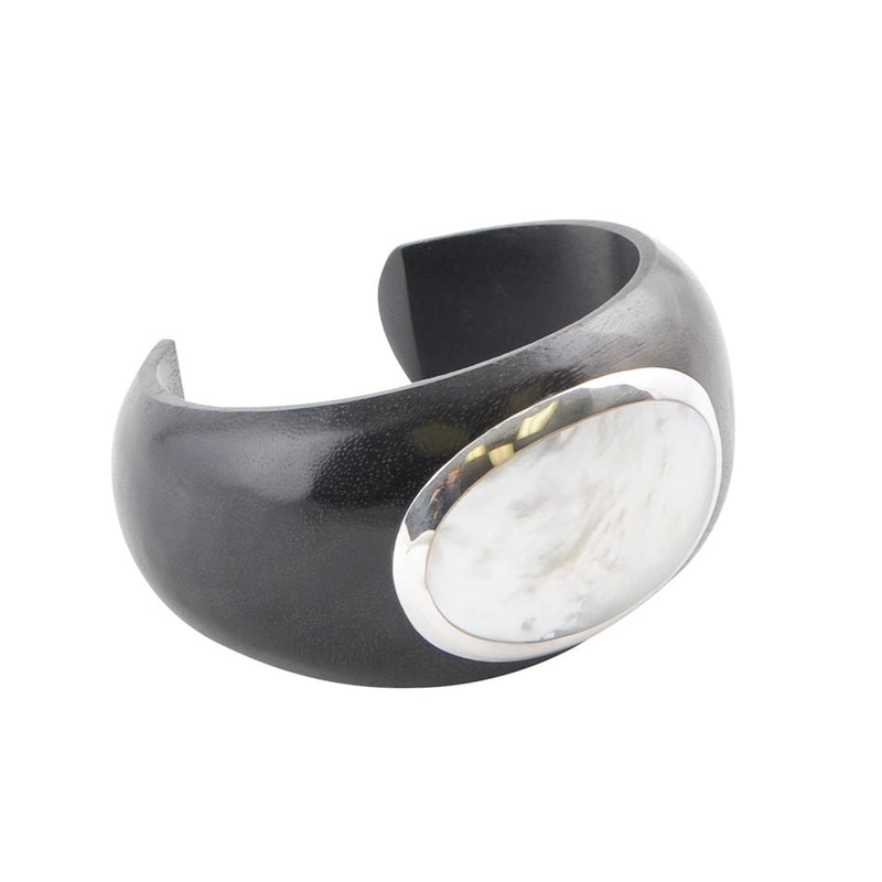 Mother of Pearl Wooden Cuff Bracelet