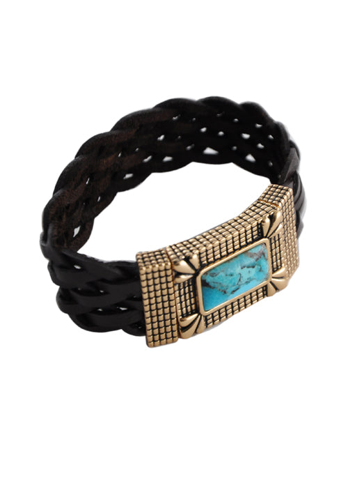 Braided Leather Magnetic Bracelet-Turquoise