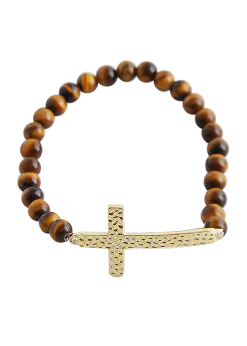 Hammered Cross Stretch Bracelet-Tiger's Eye