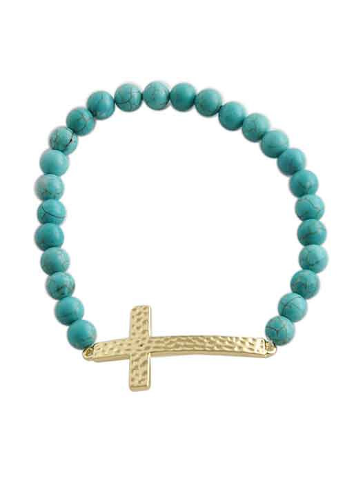 Hammered Cross Stretch Bracelet-Turquoise Howlite