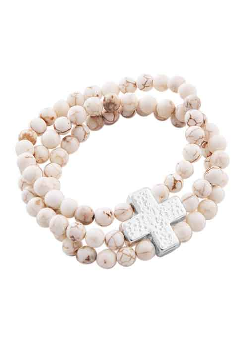 Three Strand Cross Stretch Bracelet-Howlite