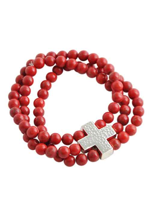 Three Strand Cross Stretch Bracelet-Red Howlite