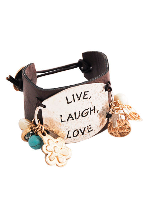 Live Laugh Love Leather Toggle Bracelet