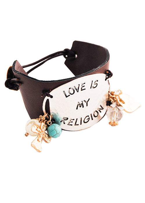 Love is My Religion Leather Toggle Bracelet