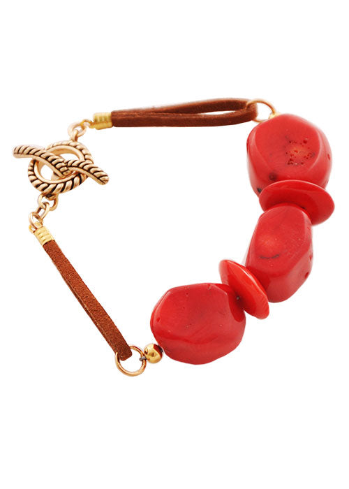 Red Hot Leather Bracelet