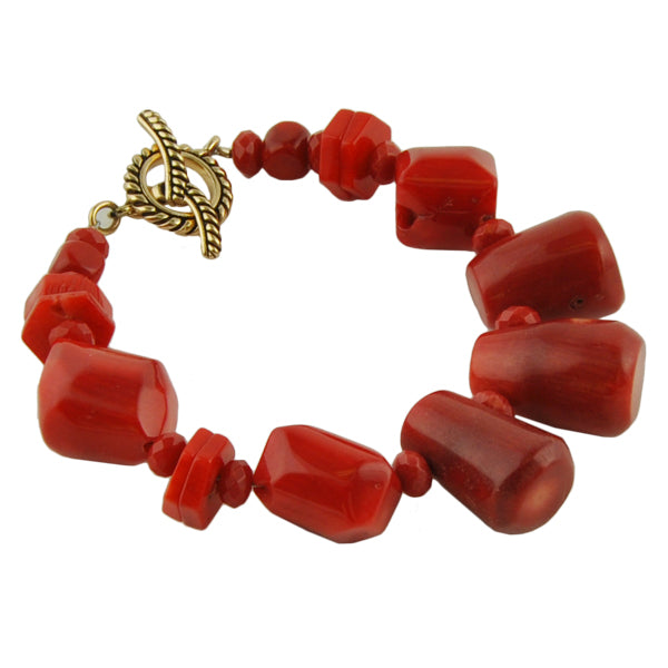 Red Coral and Bronze Toggle Bracelet