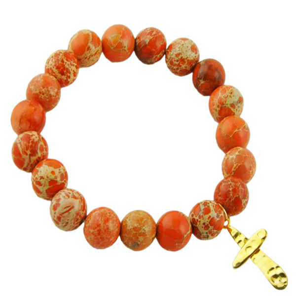 Beaded Stretch Bracelet- Orange Jasper with Cross