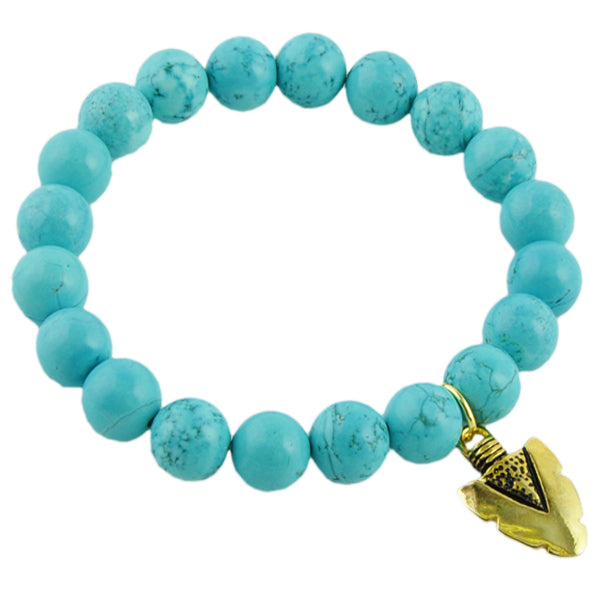 Beaded Stretch Bracelet- Turquoise Howlite with Arrowhead