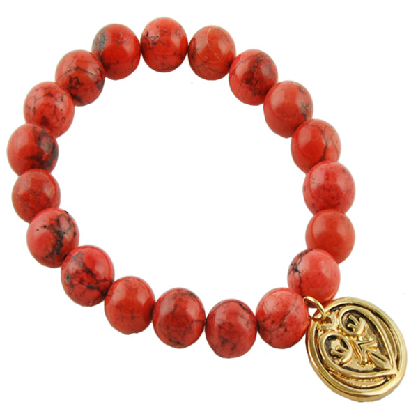 Beaded Stretch Bracelet- Red Howlite with Heart Coin