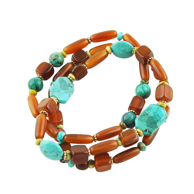 Triple Stretch Bracelets-Turquoise and Horn