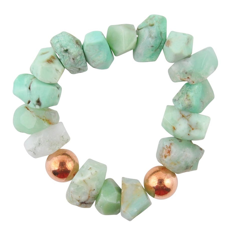 Chrysocolla and Copper Stretch Bracelet