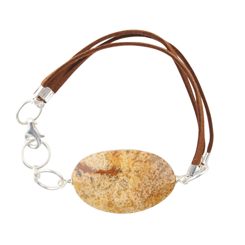 Grand Canyon Leather and Stone Bracelet- Picture Jasper