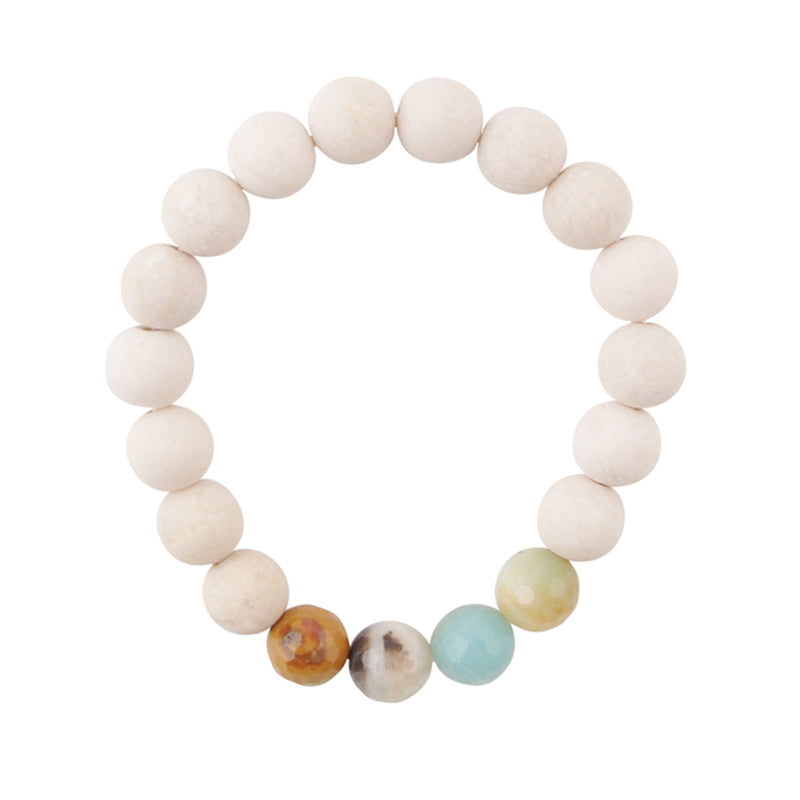 Amazonite and Magnesite Stretch Bracelet